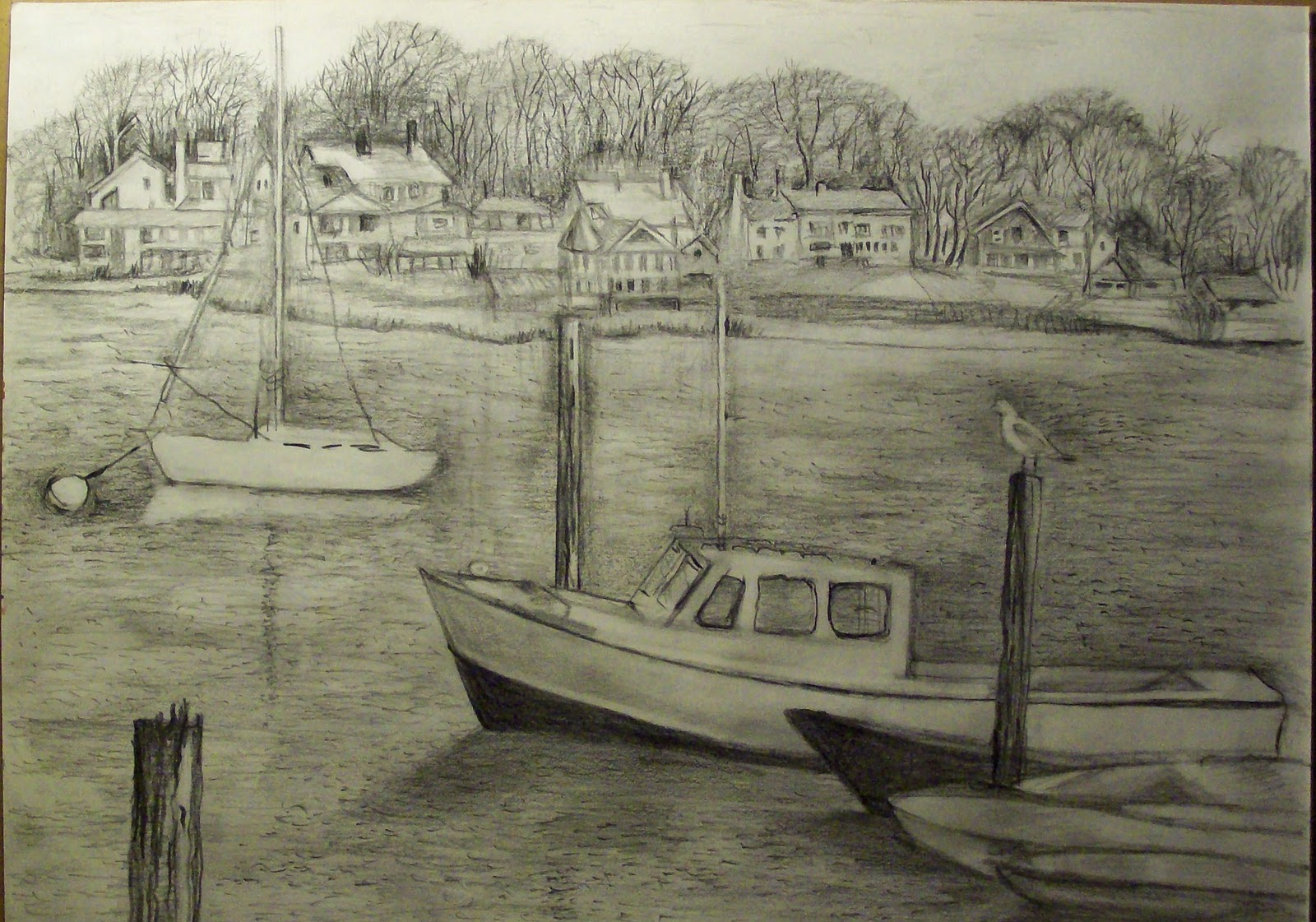1600x1121 Siona's Watercolor And Drawings Pencil Drawing Of Huntington Harbor
