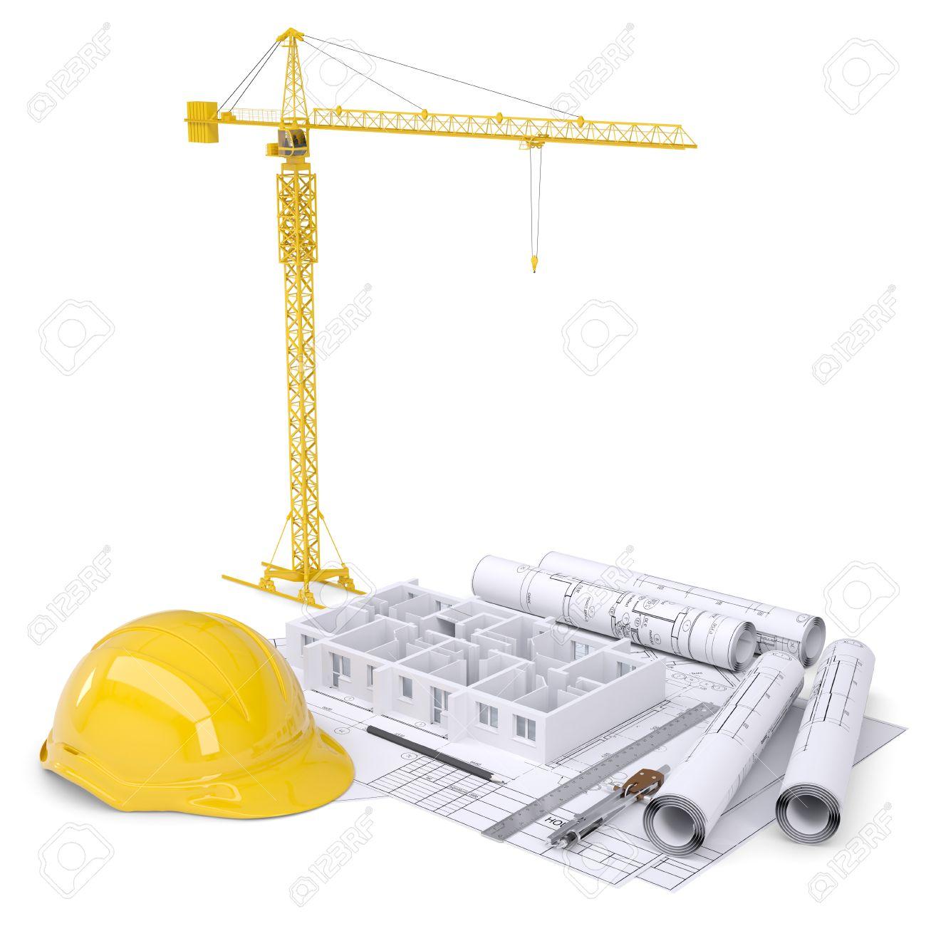 1300x1300 Apartment Block Under Construction, Crane, Blueprints, Drawing