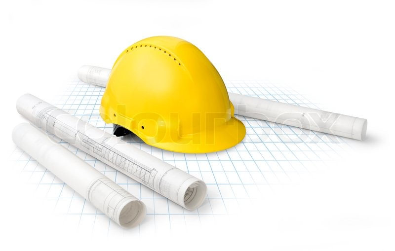 800x509 Construction Drawing Blueprints And Yellow Hard Hat Isolated