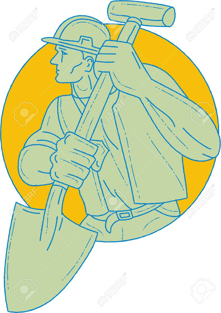 917x1300 Drawing Sketch Style Illustration Of A Construction Worker Wearing