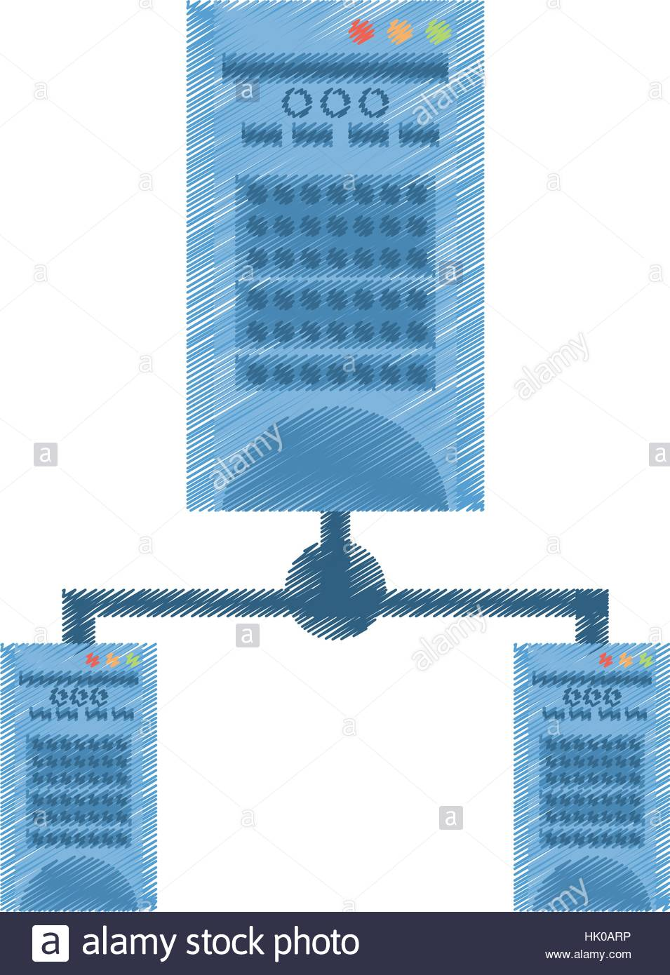 955x1390 Drawing Tower Computer Hardware Technology Vector Illustration Eps