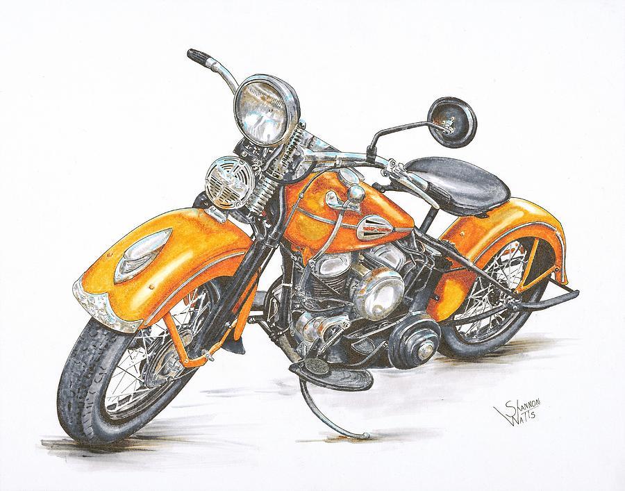 900x707 1942 Harley Davidson Flathead Drawing By Shannon Watts