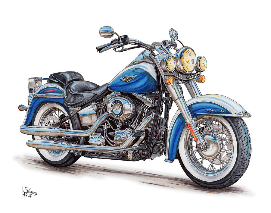 900x707 2015 Harley Softail Deluxe Drawing By Shannon Watts