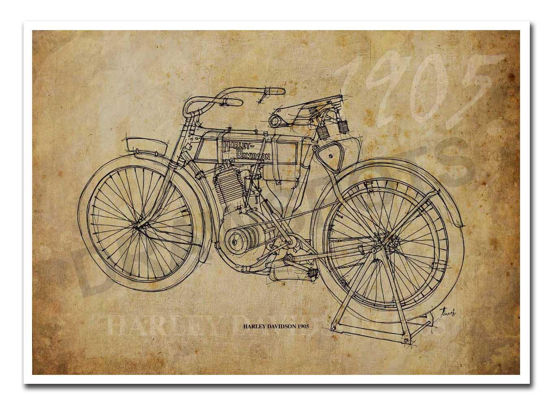 1360x1001 Harley Davidson 1905 Based On My Original Handmade Drawing