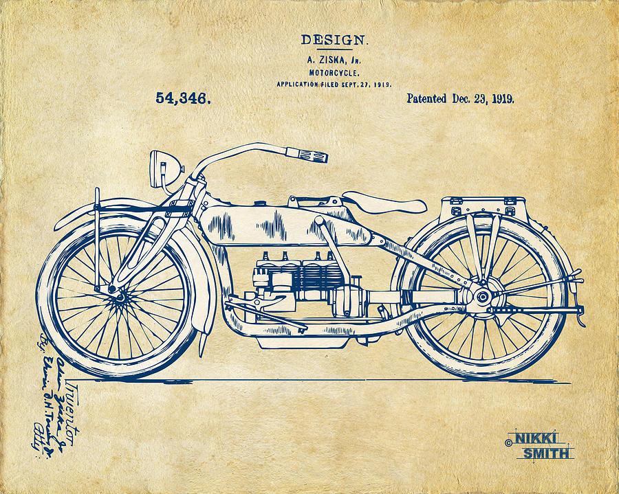 900x719 Vintage Harley Davidson Motorcycle 1919 Patent Artwork Digital Art