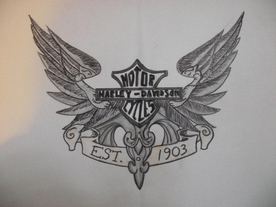 900x675 Harley Davidson Logo And Wings By Megan Tynan7