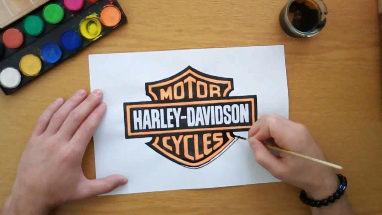 1280x720 How To Draw The Harley Davidson Logo