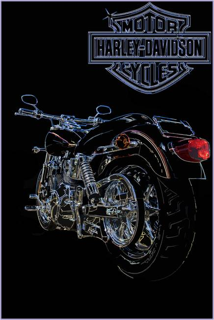436x650 Harley Davidson Motorcycle Line Drawing In Color By Ricky Barnard
