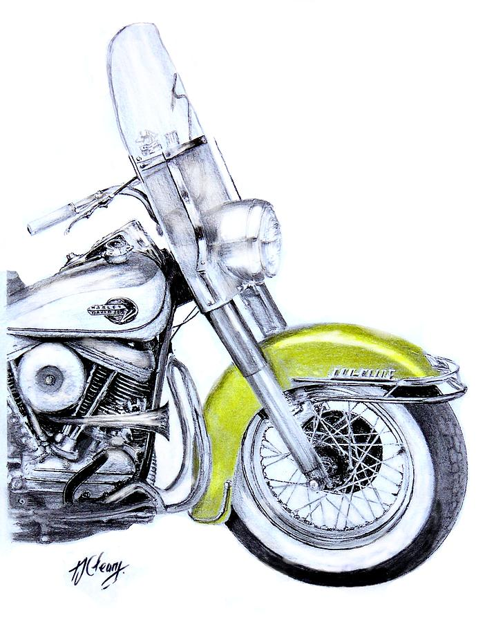 715x900 1960 Harley Davidson Flh Duo Glide Motorcycle Drawing By Terence