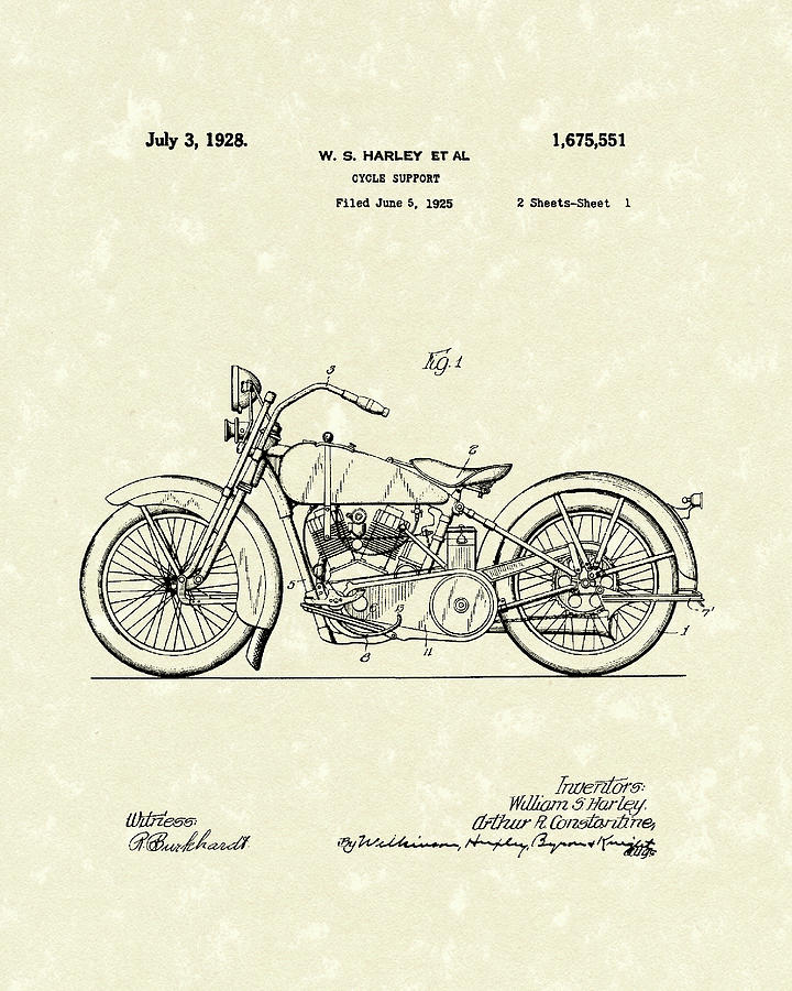 720x900 Harley Motorcycle 1928 Patent Art Drawing By Prior Art Design