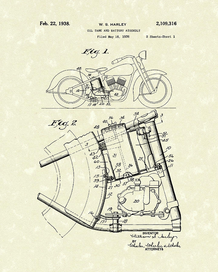 720x900 Harley Motorcycle 1938 Patent Art Drawing By Prior Art Design