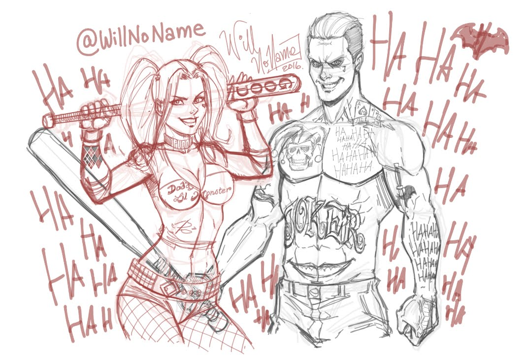 1076x731 Harley Quinn And The Joker Speed Drawing (Sketch)