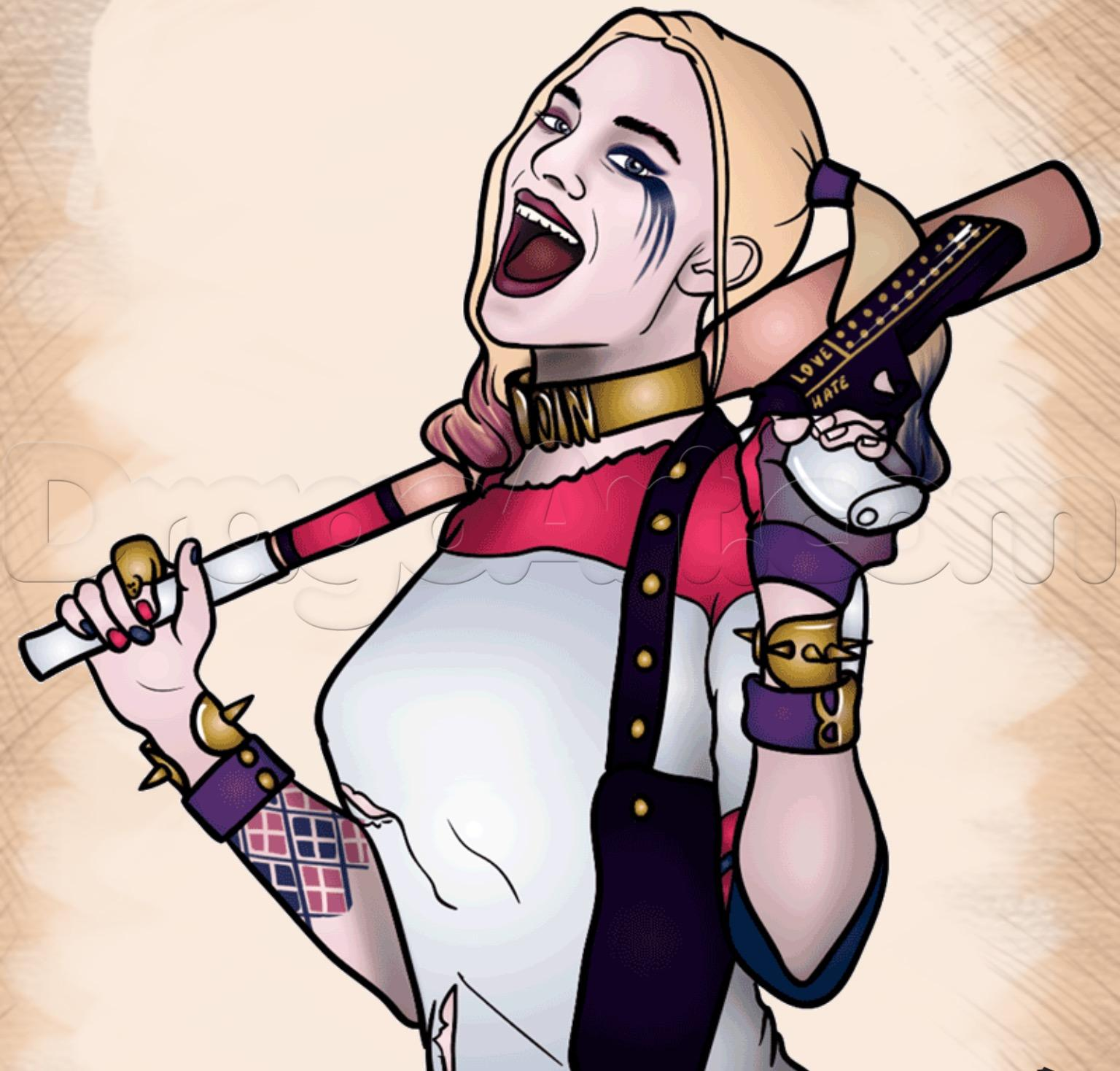 1536x1468 How To Draw Harley Quinn From Suicide Squad, Step By Step, Movies