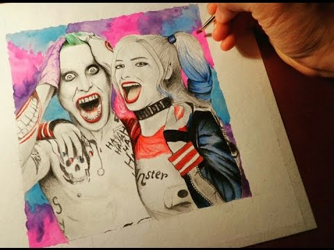 480x360 Drawing The Joker And Harley Quinn (Suicide Squad)