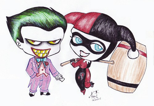 500x343 Joker And Harley Quinn Drawing 3 On We Heart It