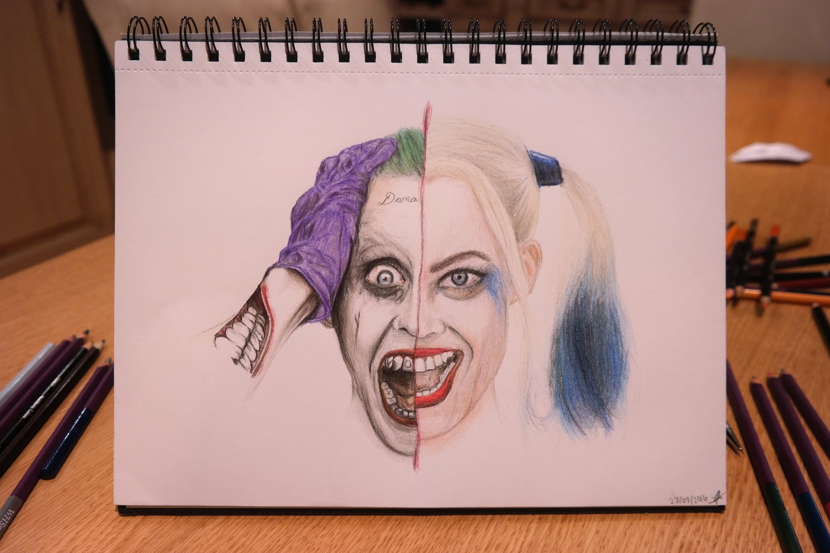 1642x1095 Speed Drawing The Joker And Harley Quinn (Jared Leto