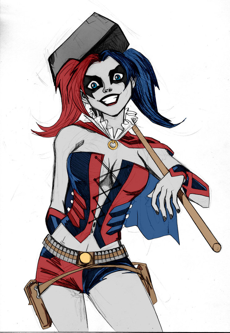744x1074 Harley Quinn Sketch Colored By Kenkira By Lucianovecchio