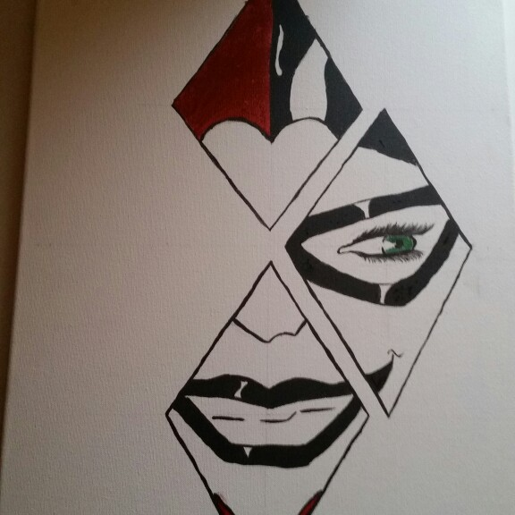 576x576 Harley Quinn Canvas Painting Drawing By Me Harley