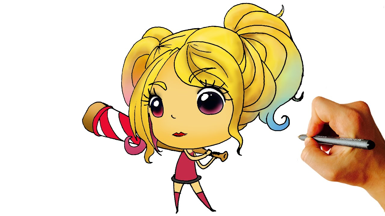 1280x720 How To Draw Harley Quinn Chibi From Suicide Squad Dc Easy Step By