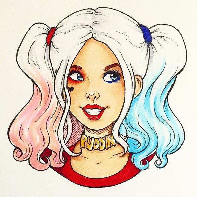 640x640 Pin Drawn Harley Quinn Easy Hair