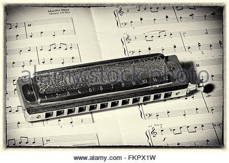 450x320 Harmonica And Sheet Music Stock Photo, Royalty Free Image