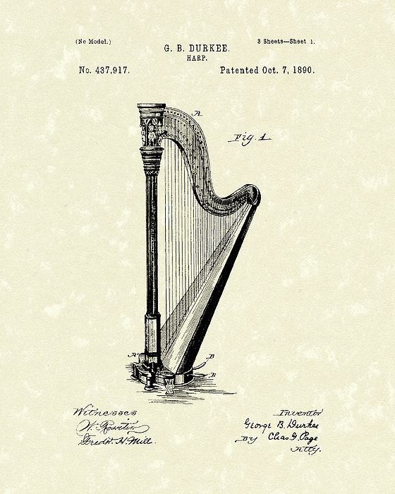 560x700 Harp 1890 Patent Art Drawing By Prior Art Design