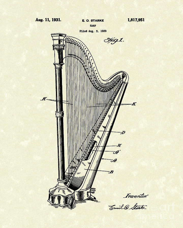 720x900 Harp 1931 Patent Art Drawing By Prior Art Design