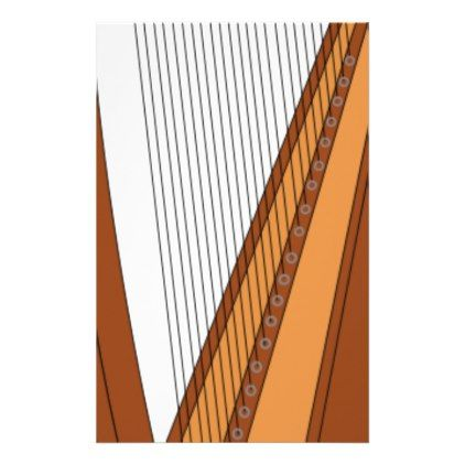 422x422 Harp Drawing Stationery
