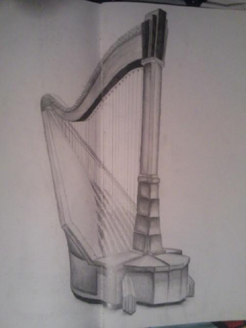 480x640 Harp Drawing By Artmarkall