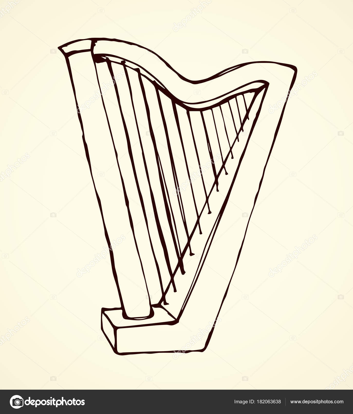 1450x1700 Harp. Vector Drawing Stock Vector Marinka