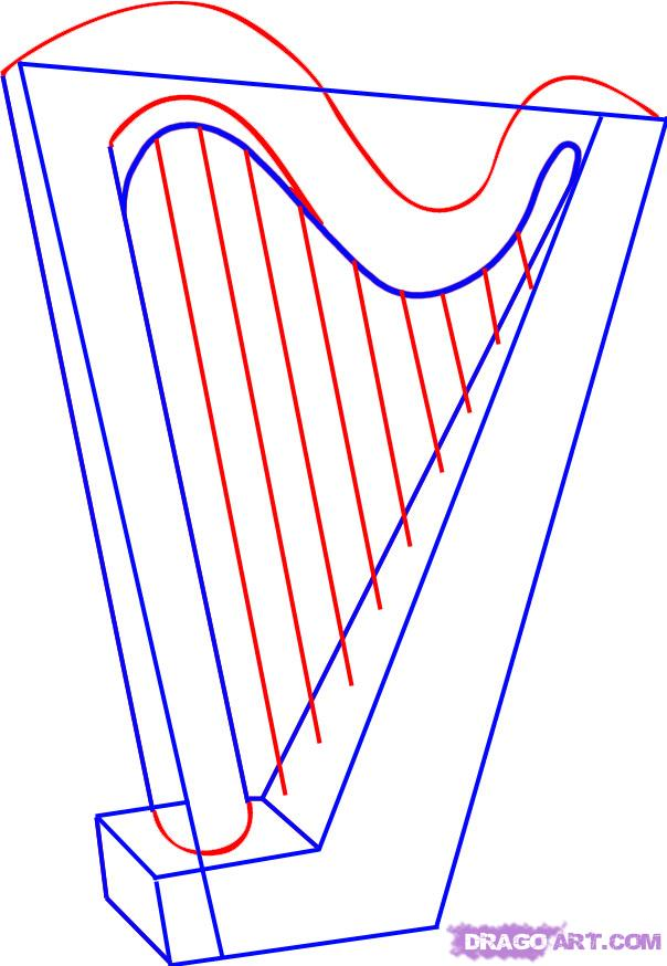 604x874 How To Draw A Harp For Kids Step By Step Harp