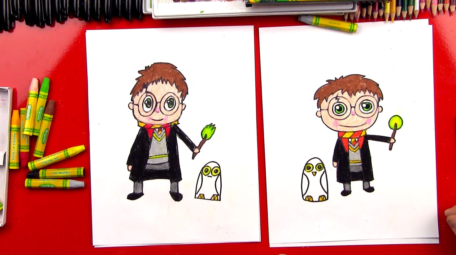 1914x1072 How To Draw A Cartoon Harry Potter And Hedwig