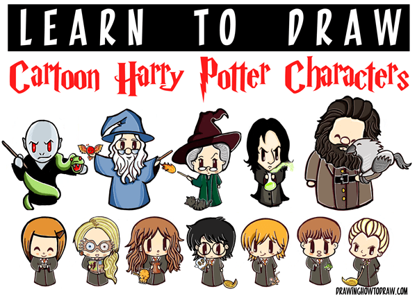 600x427 Huge Cartoon Harry Potter Characters Drawing Tutorial Guide
