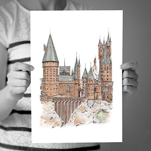 500x500 Hogwarts Castle, Harry Potter Art. Detailed Pen Drawing. Limited