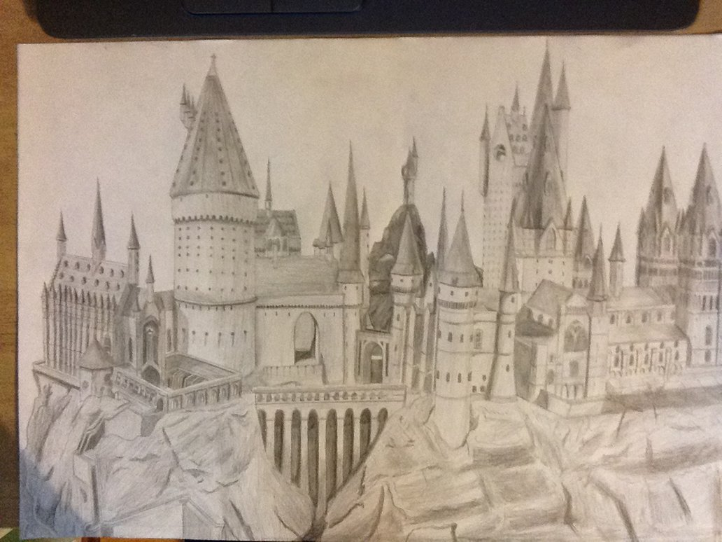 1032x774 Hogwarts Castle Drawing By Chaoslink1