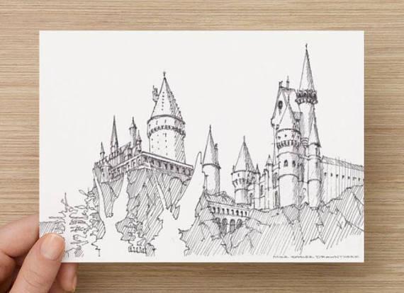570x414 Ink Sketch Of Hogwarts Castle