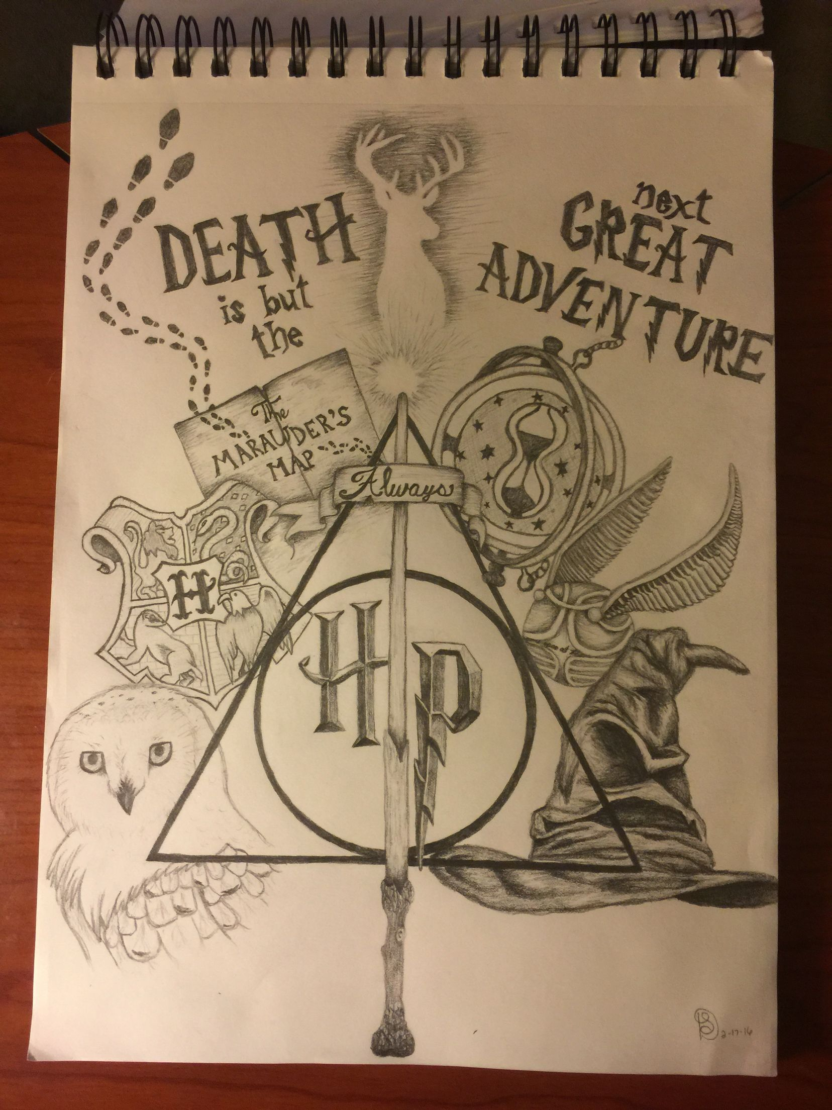 1656x2208 Harry Potter Collage Drawing