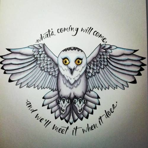 500x500 Harry Potter Hedwig Tattoo What's Coming Will Come And We'Ll