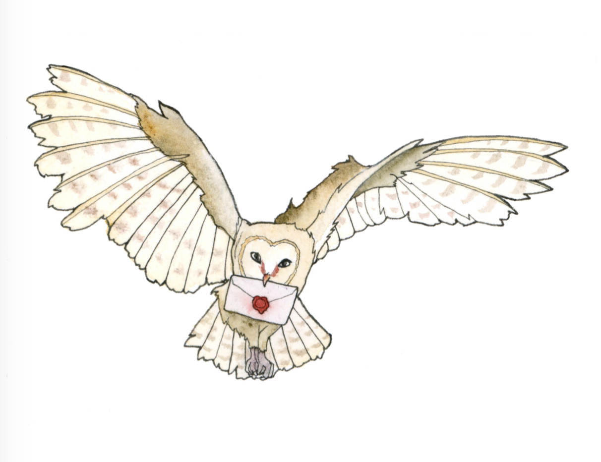 1212x932 Owl Post Art Print, Harry Potter Fan Art, Owl Delivering Mail