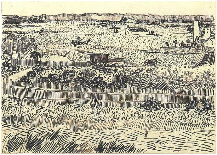 750x536 Drawing (Harvest At La Cra, With Montmajour In The Background) By