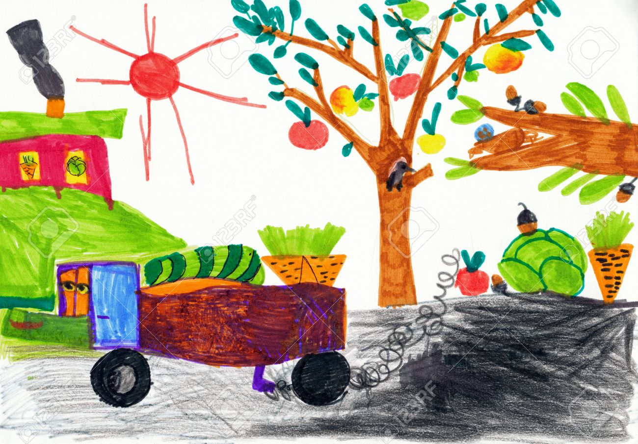 1300x906 Children's Drawing. Harvesting In The Village Stock Photo, Picture