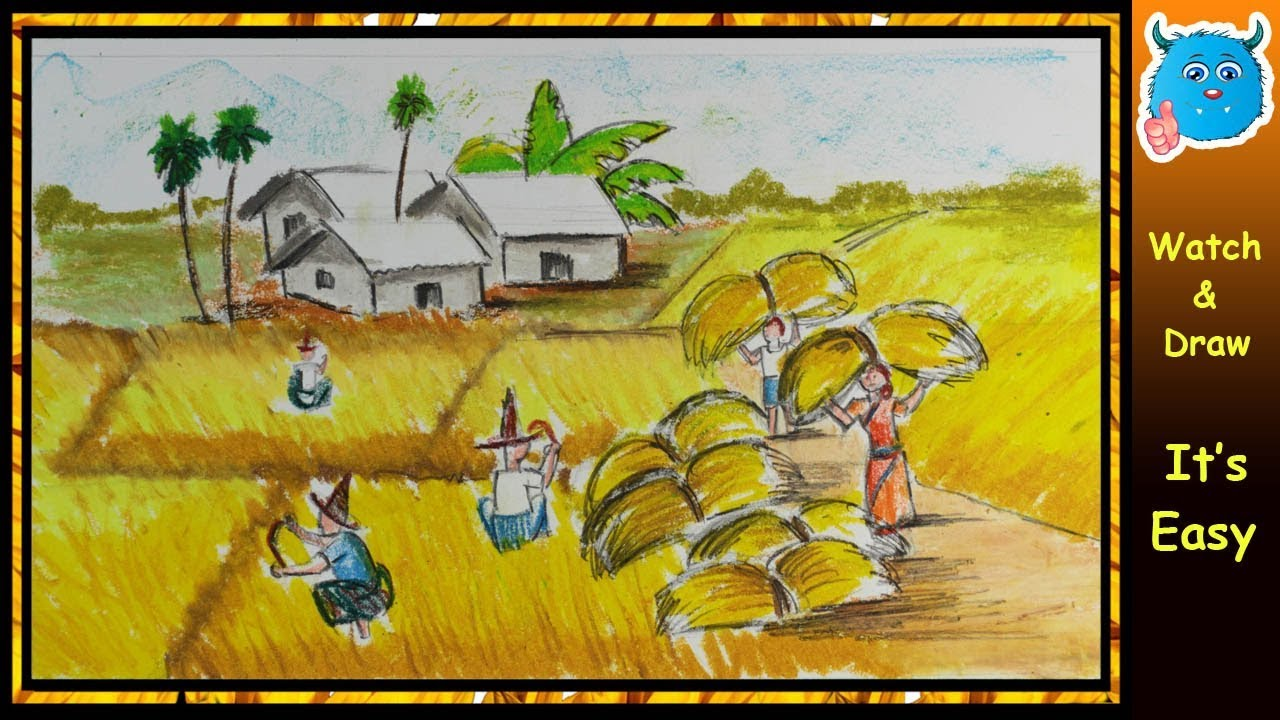 1280x720 How To Draw Village Scenery Of Autumn Season Farmers Harvesting