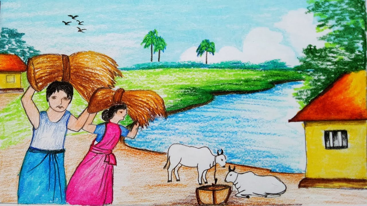 1280x720 How To Draw A Village Landscape Where Farmers Harvesting Paddy