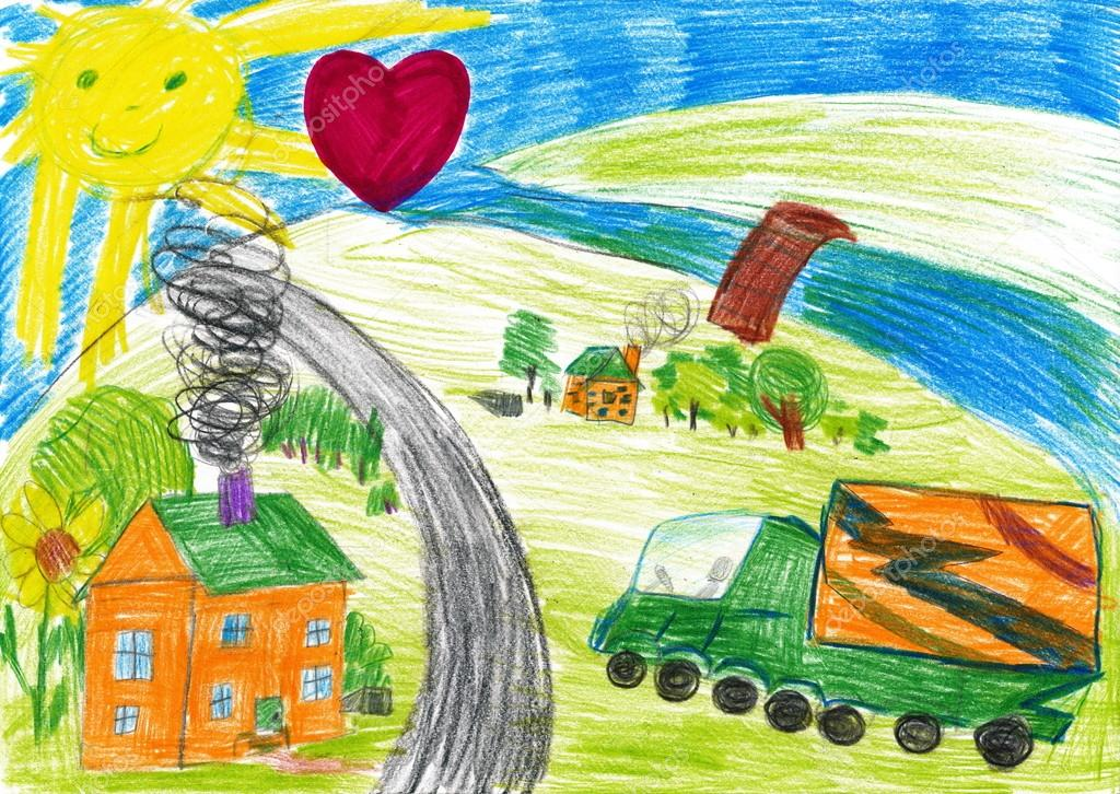 1024x726 Harvesting And Village. Child's Drawing Stock Photo Soleg