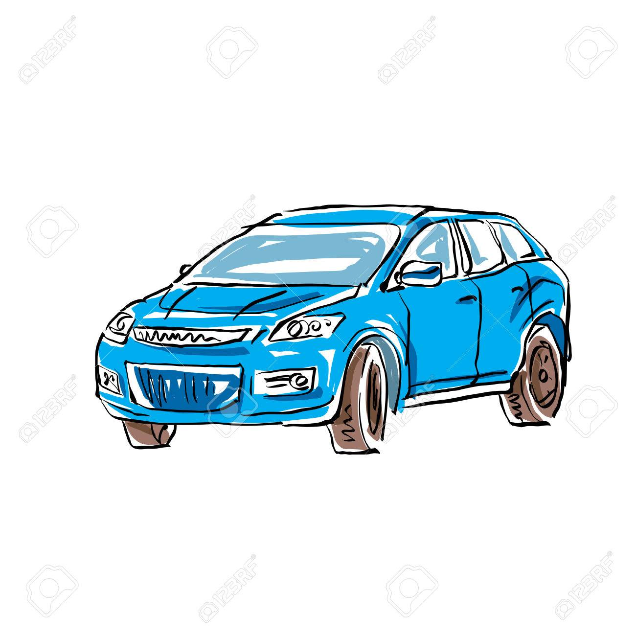 1300x1300 Colored Hand Drawn Car On White Background, Illustration