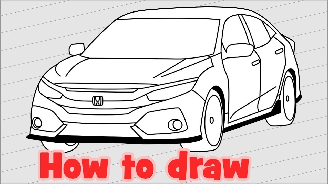 1280x720 How To Draw A Car Honda Civic Touring Hatchback