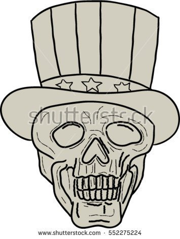 355x470 Drawing Sketch Style Illustration Of A Skull Of Uncle Sam Wearing