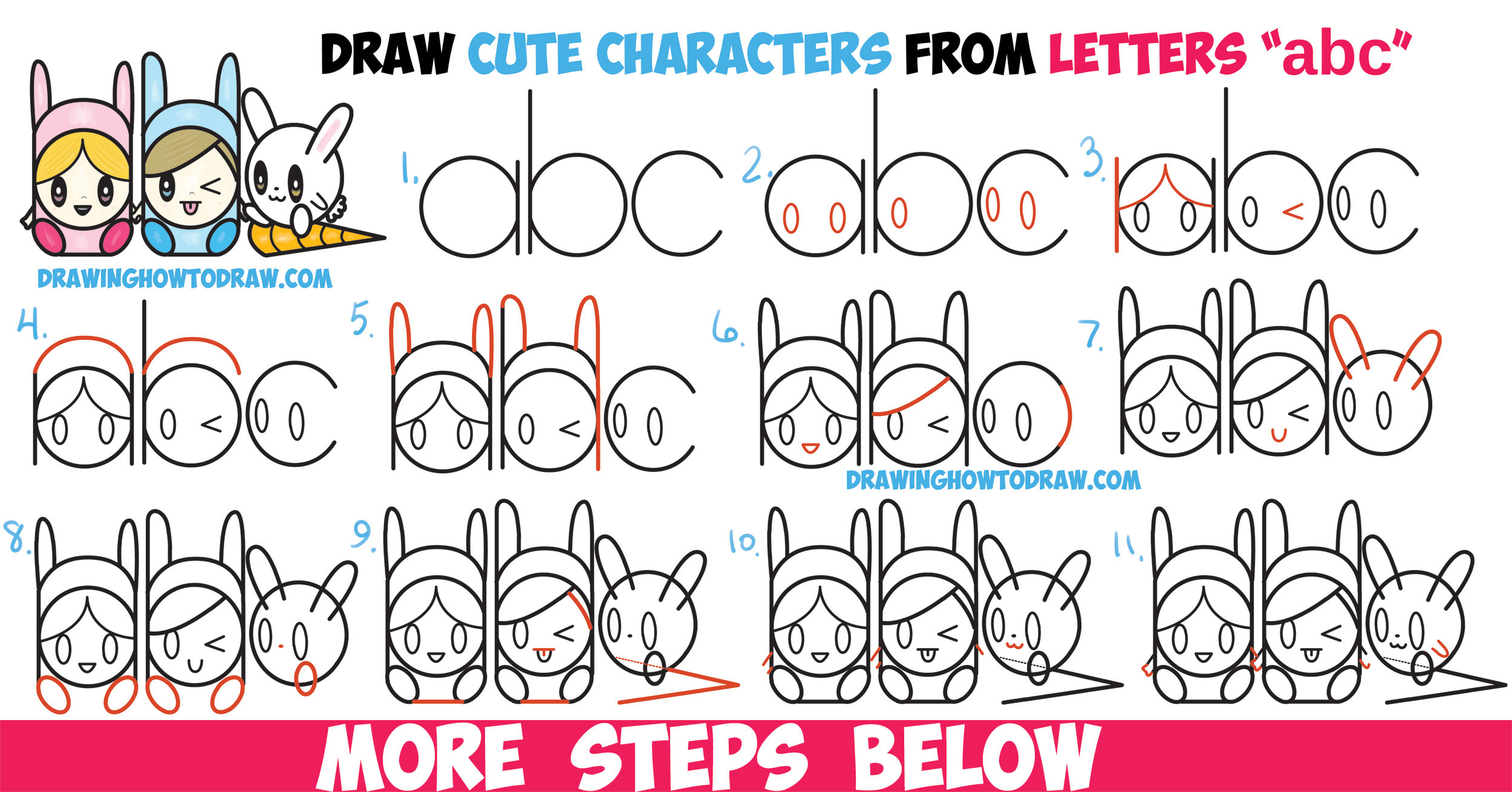 2500x1309 How To Draw Cute Kawaii Chibi Characters In Bunny Hatsnd