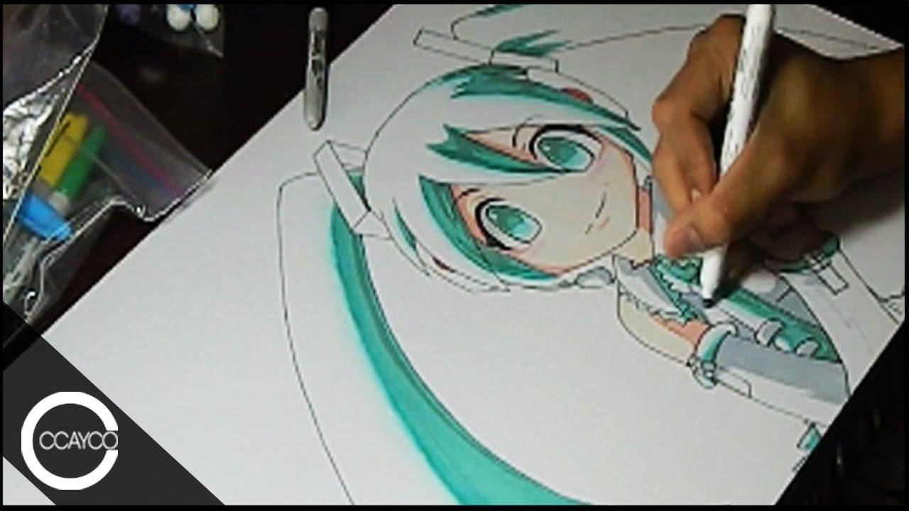 1280x720 Drawing Chibi Hatsune Miku (Vocaloid) Playmat