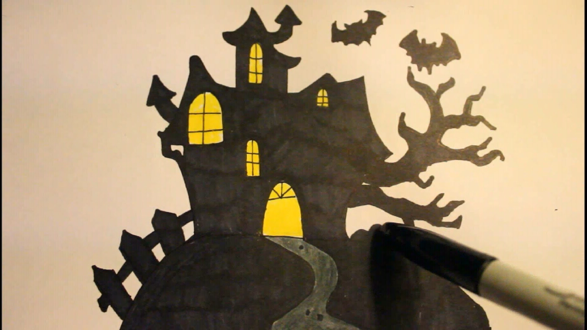 1920x1080 How To Draw A Haunted Houseeasystep By Stepfor Halloween